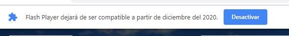 Aviso de Chrome sobre el fin de compatibilidad con Adobe Flash Player
