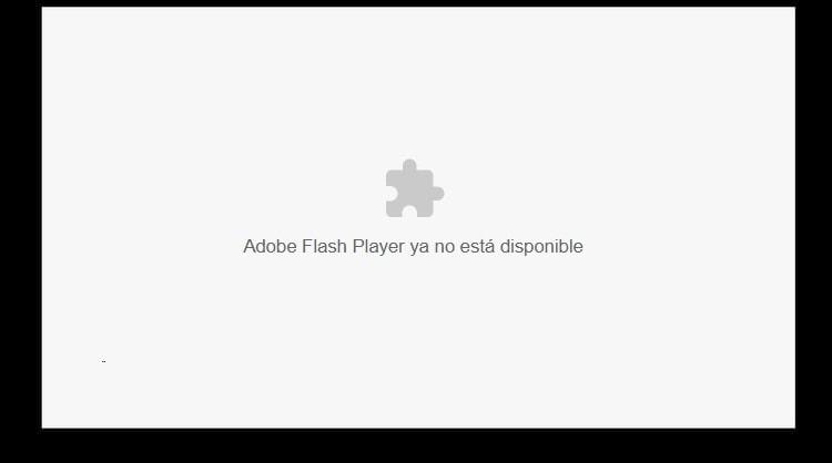 Vista de una página con Adobe Flash Player, por defecto