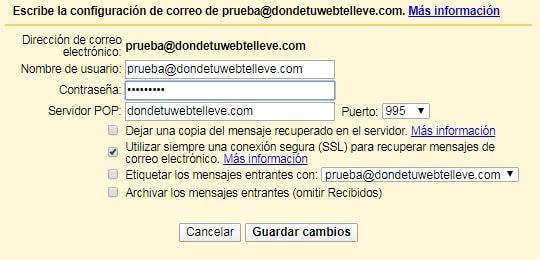 Formulario para configurar POP3 en Gmail