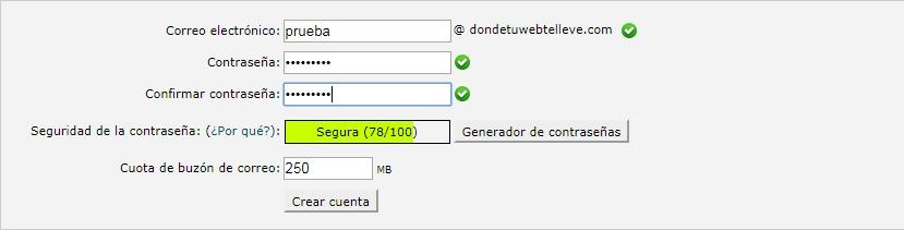 Formulario para crear una cuenta de correo electrónico en cPanel