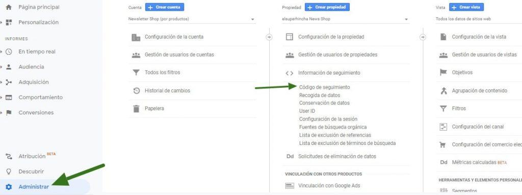 Ubicación del código de Analytics que debes insertar en WordPress