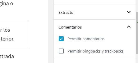 Apartado para activar y desactivar comentarios wordpress en páginas y entradas