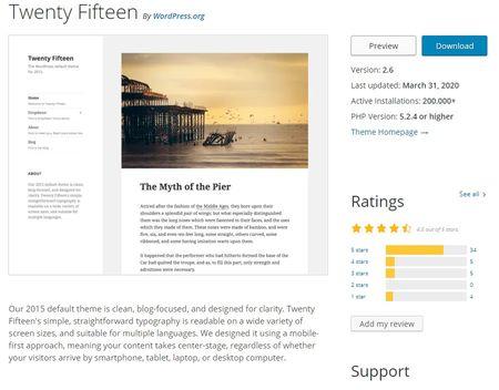 Captura de una vista detallada de un Theme WordPress