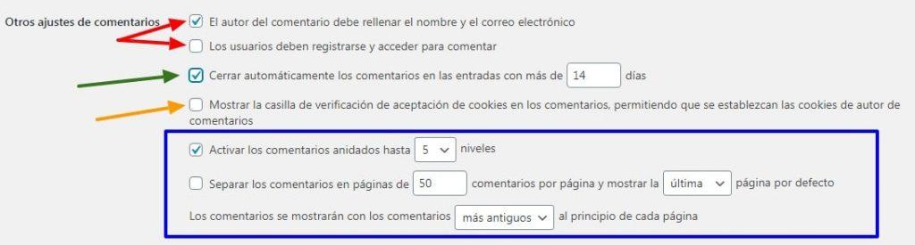 Configuración de Comentarios WordPress (otros ajustes)