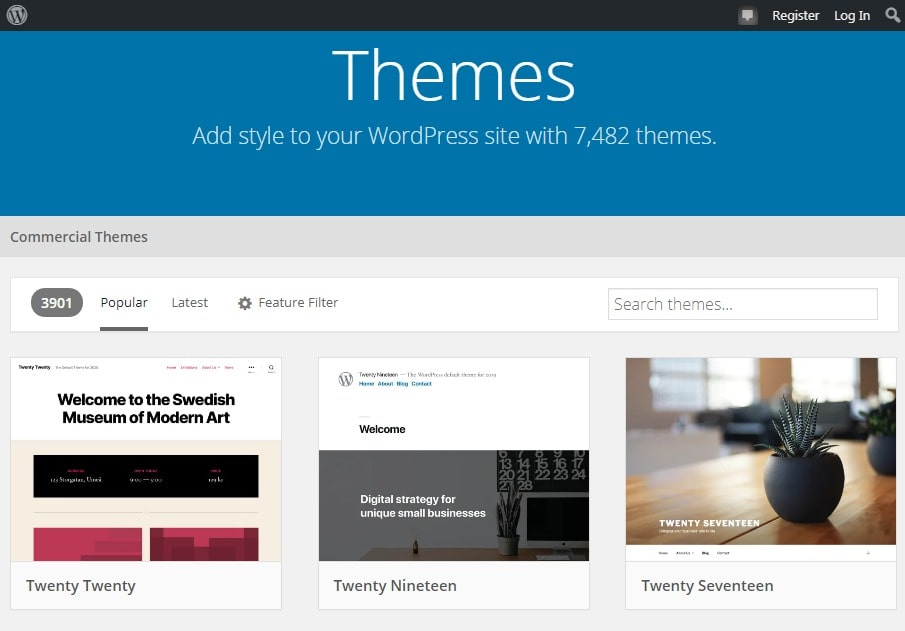 Captura del Repositorio Oficial WordPress para descargar temas