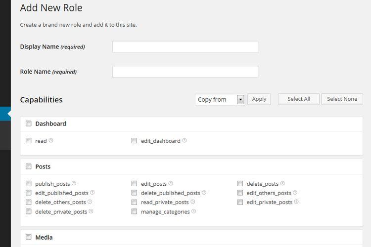 Pantalla para crear un nuevo rol de usuario WordPress