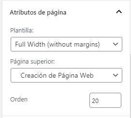 Atributos de página durante la creación/edición