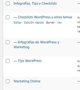 Listado de Categorías WordPress, algunas de ellas anidadas