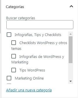 """Sección """"Categorías"""" en la edición de entradas"""