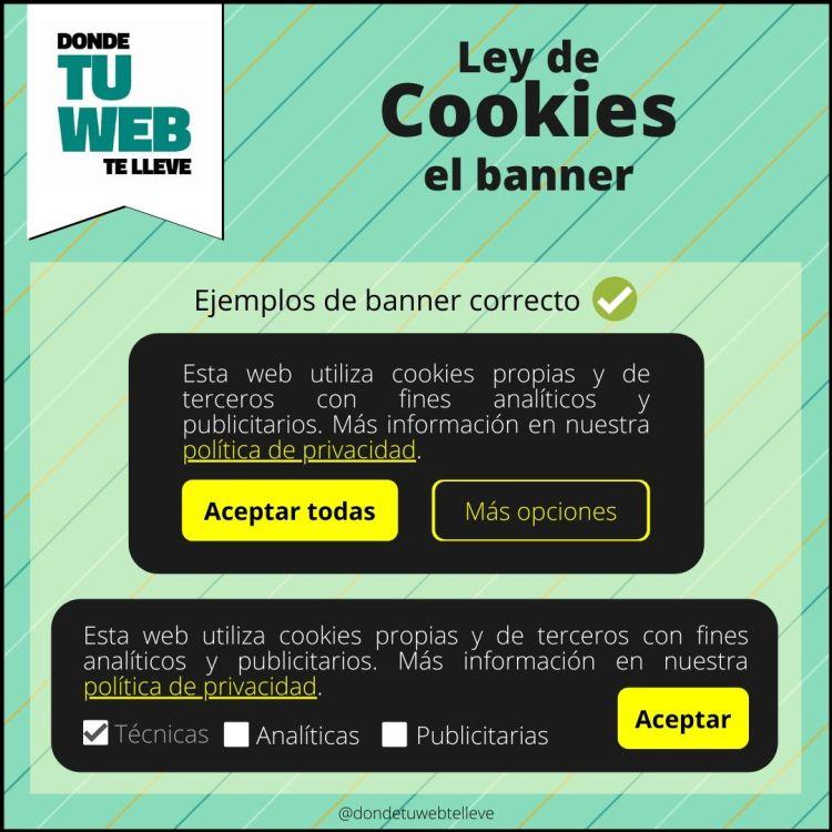 Cumplir Ley de Cookies. Ejemplos de Banners