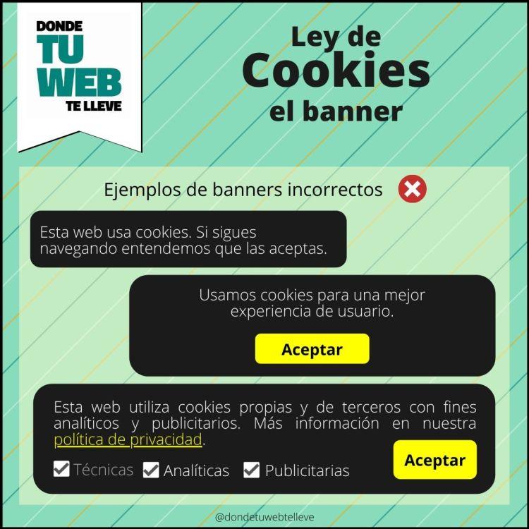 Cumplir Ley de Cookies. Ejemplos de Banners Incorrectos