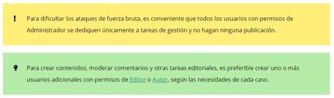 Advertencias y Tips del Diccionario de WordPress