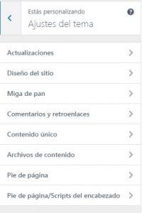 Ejemplo de Ajustes de Tema de WordPress