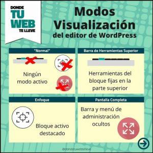 Modos de Visualización del Editor de WordPress. Infografía Resumen