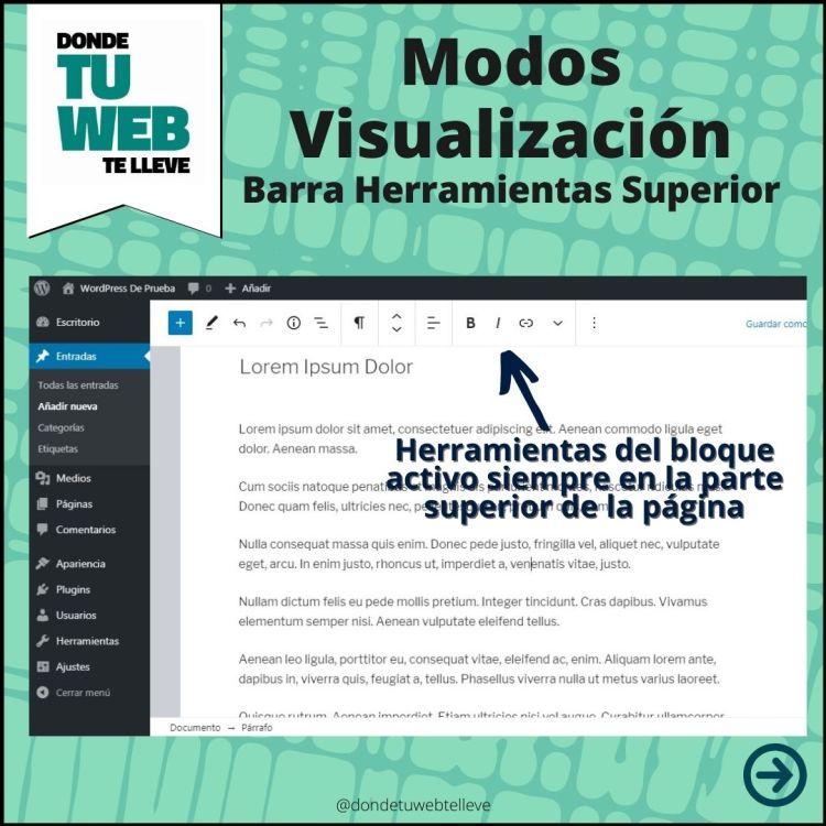 Modos Visualización Editor WordPress: Barra Herramientas Superior (Infografía)