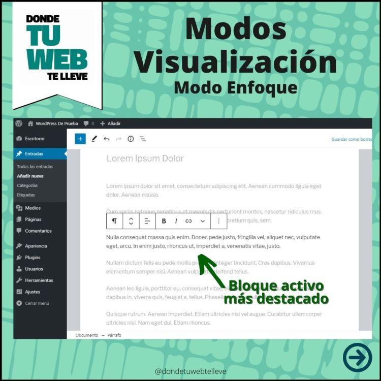 Modos Visualización Editor WordPress: Modo Enfoque (Infografía)