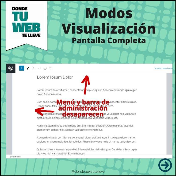 Modos Visualización Editor WordPress: Pantalla Completa (Infografía)