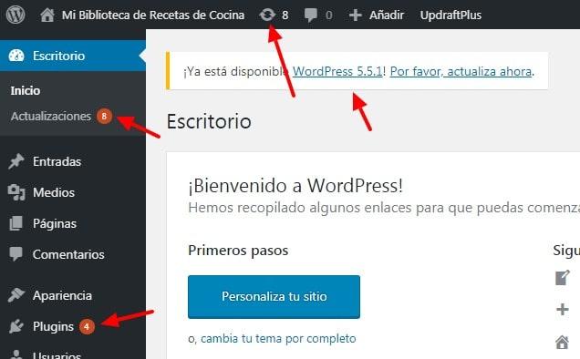 Llamadas de atención sobre la disponibilidad de alguna actualización WordPress disponible