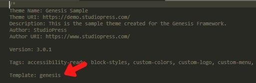 Código que declara un tema hijo de WordPress