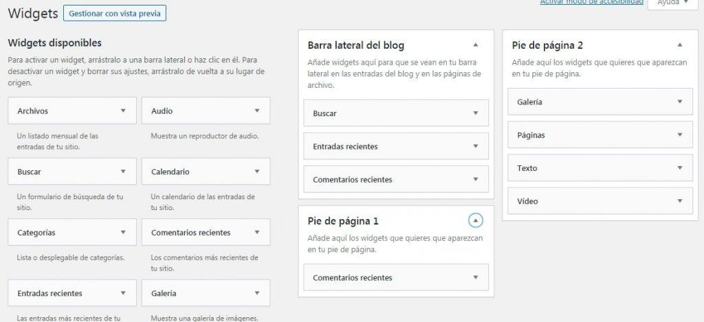 Pantalla de gestión de Widgets en WordPress