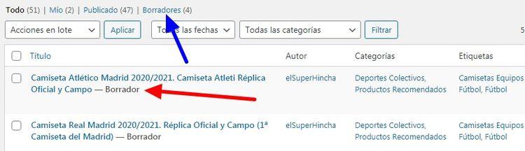 Captura del listado de entradas donde se ven dos borradores WordPress
