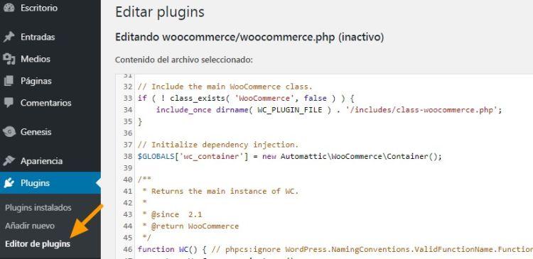 Captura del Editor de Plugins y menú de acceso