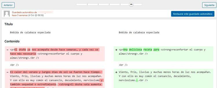 Revisión WordPress dentro del Gestor de Revisiones.