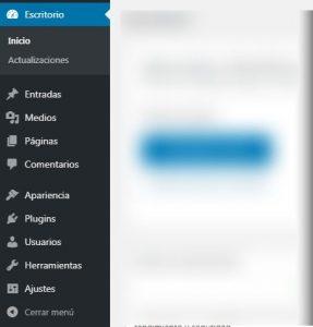 Menú de Administración de una instalación WordPress estándar