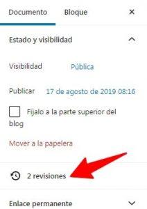 Indicador de revisiones disponibles para la publicación WordPress en la que estás.