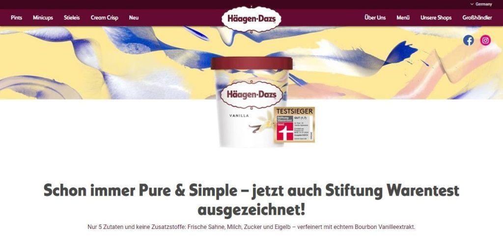 La web de Häagen-Dazs es otra web famosa hecha con WordPress