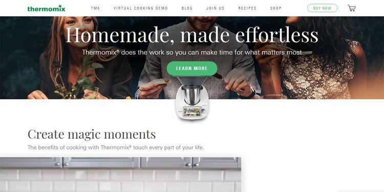 Entre las páginas famosas con WordPress está la de Thermomix
