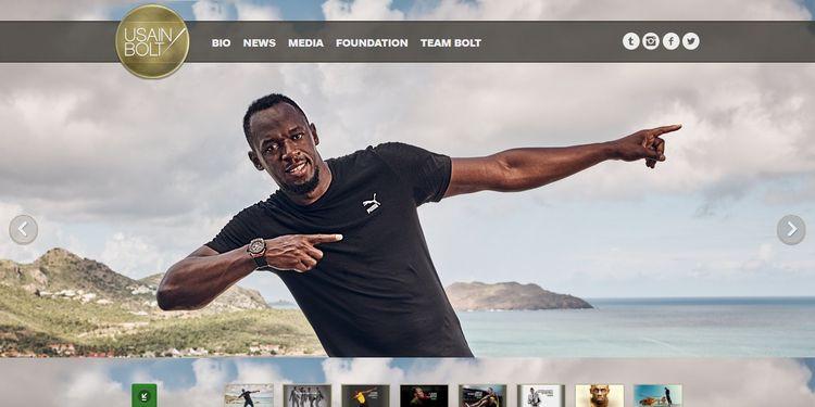 Web de Usain Bolt, hecha con WordPress