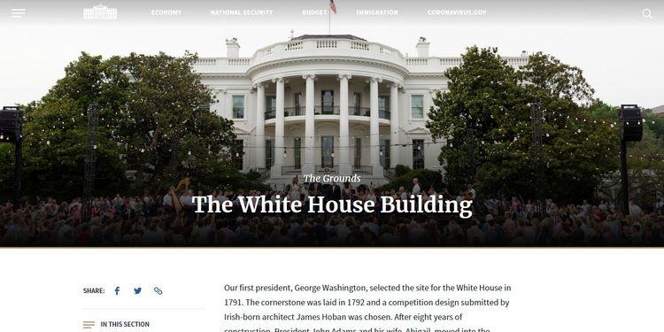 Web de la Casa Blanca, una ejemplo de web con WordPress