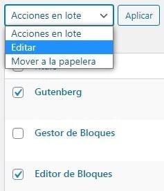 Acciones en Lote WordPress