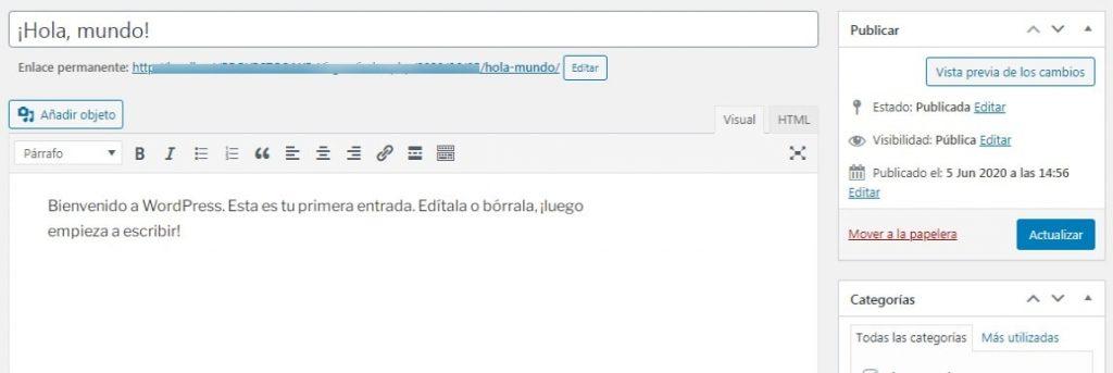 Editor Clásico de WordPress