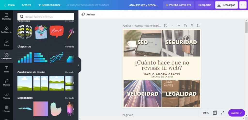 Captura de Canva Web