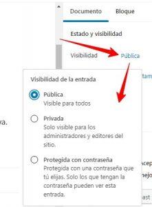Menú de configuración de la visibilidad de una entrada en WordPress