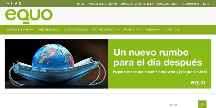 La del Partido Político Equo, es una de las muchas webs con WordPress en España
