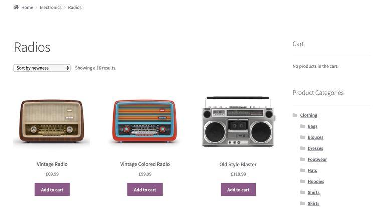 Ejemplo de Tienda creada con WooCommerce