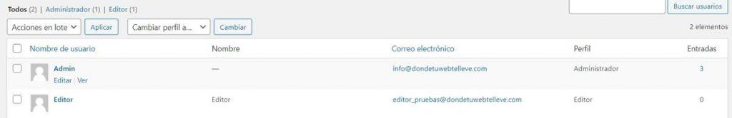 Pantalla de gestión de usuarios en WordPress
