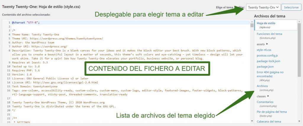 Partes del Editor de Temas WordPress